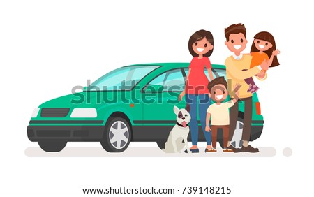 happy family with a car on a