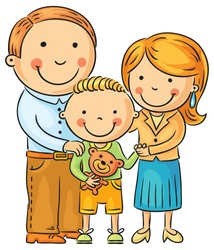 Happy family with a little son, isolated on white, no gradients