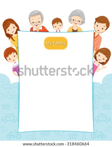 Happy Family with Blank Sign, Family, Relationship, Togetherness, Cheerful, Lifestyle