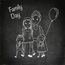 Happy family with children. Doodle characters. Hand drawn vector stock illustration. Chalk board drawing