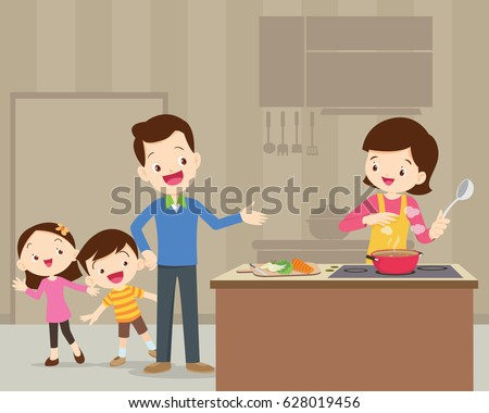 happy family with dad ,mom ,daughter, son cooking in kitchen vector cartoon illustration