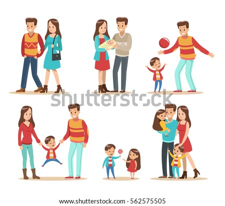 Happy family with father, mother, daughter and son vector design