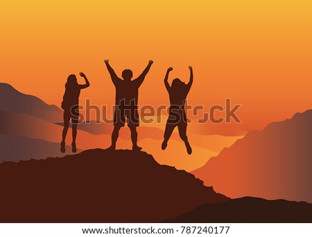 happy family with hands up