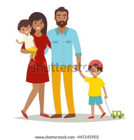 Happy Family with kids. Cartoon caracters African American family: mother, father, brothers. Couple in love and children. Flat style vector illustration isolated on white background
