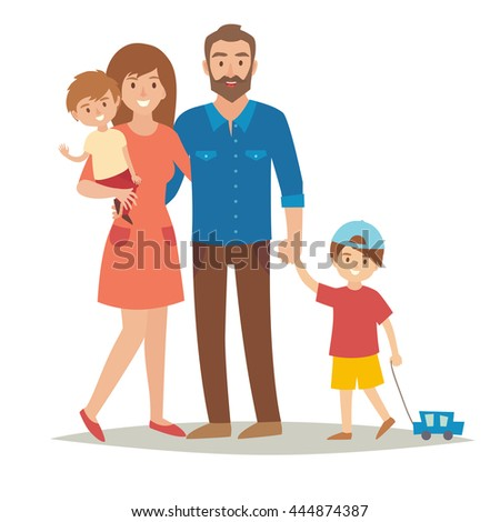 Happy family with kids. Cartoon characters family: mother, father and brothers. Fun couple with children. Flat style vector illustration isolated on white background