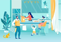 Happy Family with Kids Chatting on Home Kitchen. Mother and Father Returned after Shopping Standing with Groceries and Purchases in Paper Bags. Children Rejoicing Candy Pizza. Vector Illustration