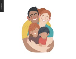 Happy family with kids -family health and wellness -modern flat vector concept digital illustration of a happy family of parents and children, family medical insurance plan