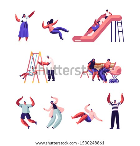 Happy Family with Kids Outdoors Fun Set. Children Sliding on Outdoor Playground, Playing on Slide, Active Games on Street. Summer Leisure Vacation Holidays Spare Time Cartoon Flat Vector Illustration