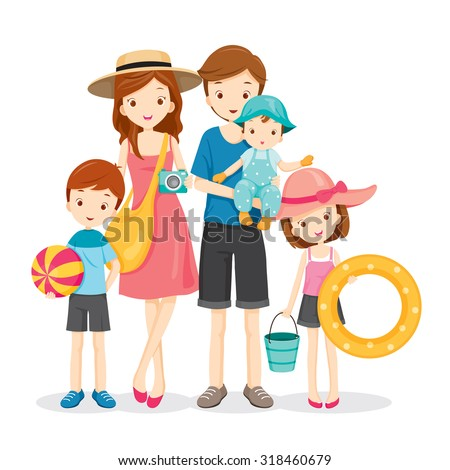 happy family with summer trip