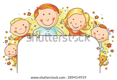 Happy family with three children and a cat with a blank frame