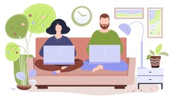 happy family work together at home. husband and sitting sofa with laptops work online and child reads book. freelance. working, studying, education, work from home. coronavirus, self-isolation.