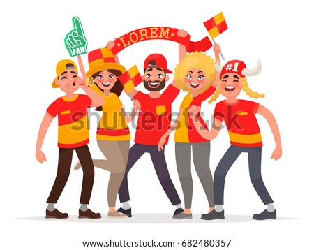 Happy fans are cheering for their team. A group of people supports athletes. Vector illustration in cartoon style