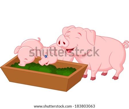 happy farm pig family