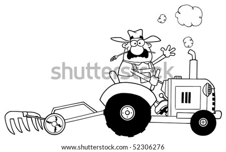 Happy Farmer Driving Tractor BW