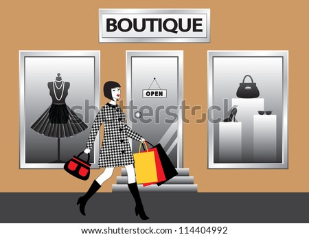 happy fashion women with shopping bags walking in front of  boutique showcase
