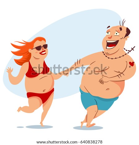 Happy fat couple on the beach in swimsuits. Obese man and woman. Vector cartoon people with overweight isolated on white background. Summer illustration.