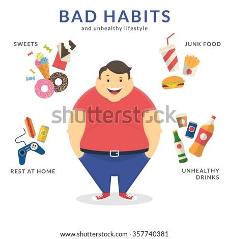 happy fat man with unhealthy