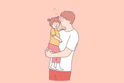 Happy father and daughter concept. Young positive father cartoon character holding little daughter on hands and kissing her with love and tender vector illustration