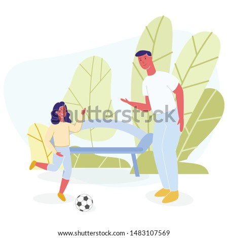 Happy Father and Daughter Rest Playing Ball in Cartoon Park. Dad Training Young Female Football Player. Family Sport and Hobby. Active Recreation. Summer Vacation. Vector Activities Flat Illustration