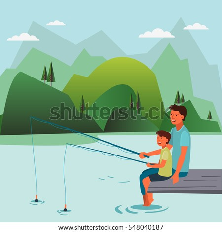 happy father and son fishing on