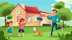 Happy father cheerful children dog pet play flying disk in countryside house yard. Summer leisure family outdoor spending. Morning weekend healthy active pastime together. Childhood, parenting