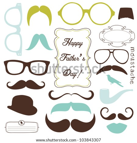 Happy Father's day background spectacles and mustaches retro style