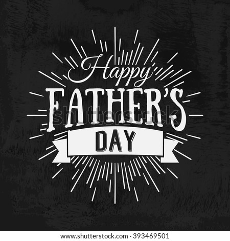 Happy Father\'s Day calligraphic vector design element. Vintage Typographical retro logo. Happy Fathers Day vintage lettering invitation labels with rays.
