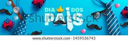 Happy Father's Day card in portuguese words with necktie,glasses and gift box for dad on blue.Promotion and shopping template for Father's Day.Vector illustration EPS10