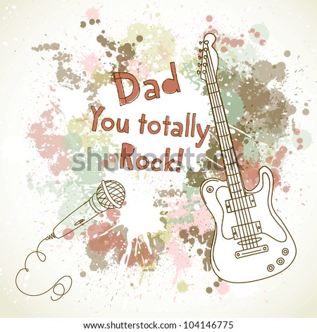 Happy Father's Day card, with guitar and microphone