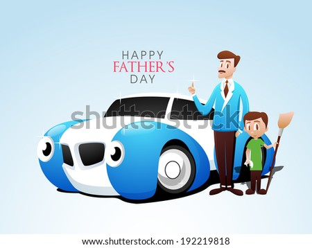 Happy Father's Day celebrations poster banner or flyer design illustration of a father with his kid and car on blue background
