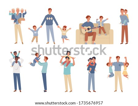 Happy Father's Day. Dad, son and daughter having good time together. Fatherhood and children characters set.  Vector illustration in a flat style Foto d'archivio ©