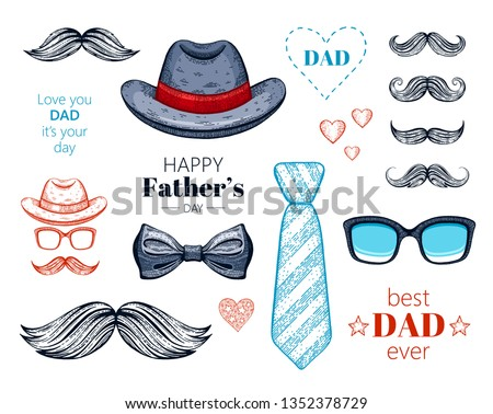 Happy Father's day elements set. Hand drawn old sketch graphic, color line art. Butterfly tie, retro fedora hat, mustaches. Trendy vintage icon collection isolated on white background with slogan text