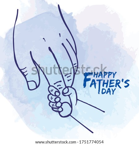 Happy Father's day. Father's hand holding newborn baby fingers in line art style on blue watercolor background. Close-up little child's hand holding daddy's fingers.