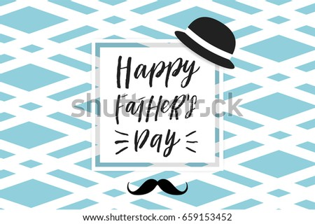 Happy Father's Day greeting background in blue white black and gold colors. Label, tag, card, poster, sale advertising, flyer. Vector illustration.