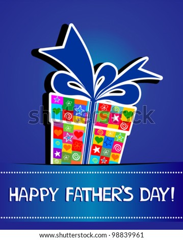 Happy Father's Day! Greeting card. Celebration blue background with  gift boxes and place for your text. vector illustration