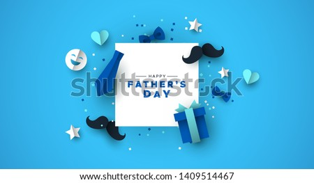 Happy Father's Day greeting card of white frame with 3d paper cut icon decoration. Includes mustache, neck tie, gift and bowtie.
