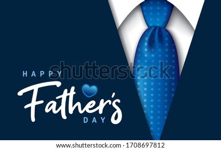 Happy Father's Day greeting card with handwritten calligraphy and necktie