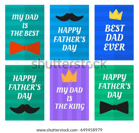 Flat happy fathers day greetings vector download free vector art happy fathers day greeting cards with tie bow crown and mustache flat design striped m4hsunfo Image collections
