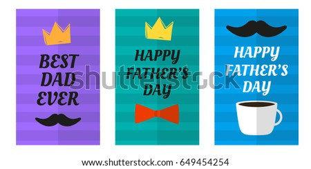 Flat happy fathers day greetings vector download free vector art happy fathers day greeting cart postcatrd with lettering best dad ever flat design stripes m4hsunfo Image collections