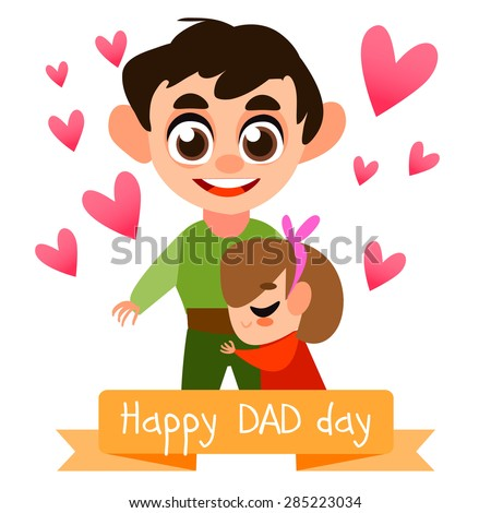 Happy Father\'s day postcard with people. vector illustration. Baby and father together. Cute characters. Family together. Dad and baby hugs.