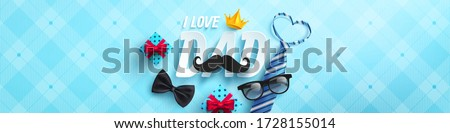 Happy Father's Day poster or banner template with necktie,glasses and gift box on blue.Greetings and presents for Father's Day in flat lay styling.Promotion and shopping template for love dad concept