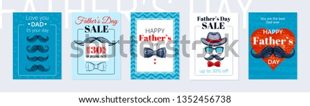 Happy Father's day poster set. Cute card with mustaches, butterfly tie, vintage had for best Dad. Cool sketch drawing art with elegant typography for sale offer, banner, t-shirt print. Blue background