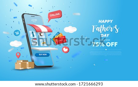 Happy Father's Day Sale banner or Promotion on blue background. Online shopping store with mobile , credit cards and shop elements. Vector illustration.