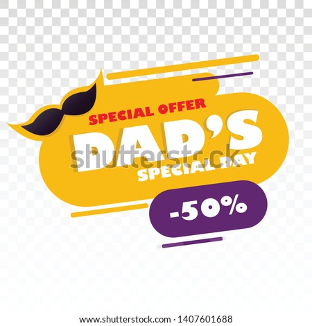 Happy father's day . sale minimal design on abstract with moustaches  special offer with PNG background - vector