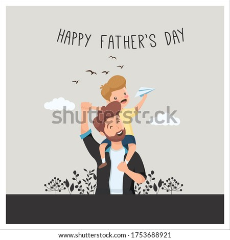 Happy father's day vector design_HAPPY Father's Day Vector illustrations with father and child_Happy father's day minimal design