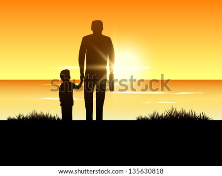 Happy Fathers Day background with silhouette of a father holding his child hand on evening background.
