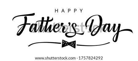 Happy Fathers Day bow tie typography banner. Father's day sale promotion calligraphy poster with doodle necktie and divider sketch line. Vector illustration