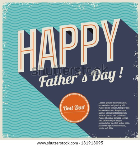 Happy fathers day card vintage retro type font