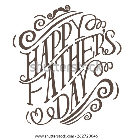 Happy Fathers Day hand drawn typography EPS 10 vector royalty free stock illustration for greeting card, ad, promotion, poster, flier, blog, article, social media, marketing