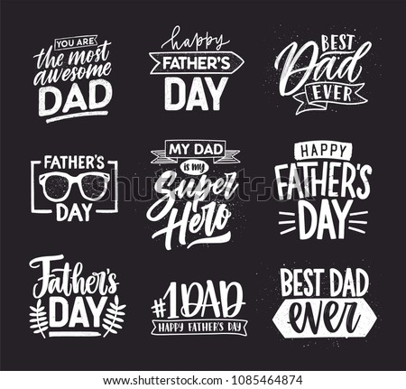 Happy Fathers Day lettering calligraphic compositions. Hand drawn inscriptions on dark background for greeting card. My dad is my super hero, Best dad ever, You are the most awesome dad.